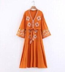 long Boho dress for women autumn floral Embroidery flare sleeve cotton dresses Casual loose dress Hippie dress vestido