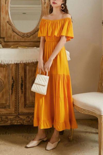 2021 Women Fashion Slash Neck Backless Beach Dress Bohemian Retro Long Dress Elegant Sexy Sundress Red Yellow White XA224F