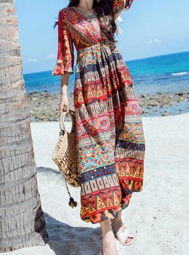 S-3XL Hot 2021 Summer Women New Fashion National wind dress seaside holiday long beach dress