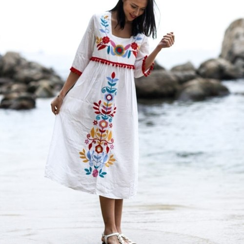 Vintage Women Bohemian Holiday Floral Embroidery Loose Midi Dress Linen Cotton Short Sleeve Boho Chic Dress Summer Vestido 21189