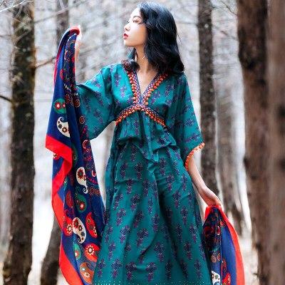 2021 New Summer Women Dress Print Boho Woman Dresses Casual Vacation Vestidos Maxi Dress Womens Clothing Femme Robe WPY2357