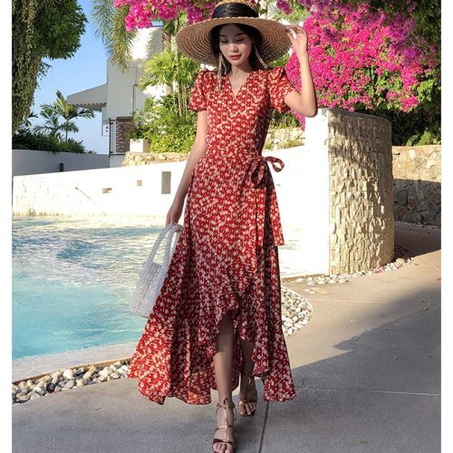 Summer Women Floral Print Ruffle Maxi Dress Elegant Boho Vacation Tropical Long Beach Dress Vintage Korean Burgundy Runway Dress