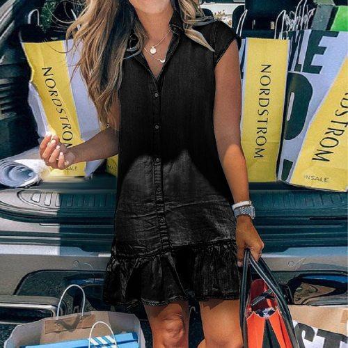 Women Fashion Denim Buttons Dress Solid Short Sleeve Loose Casual Dress summer dress