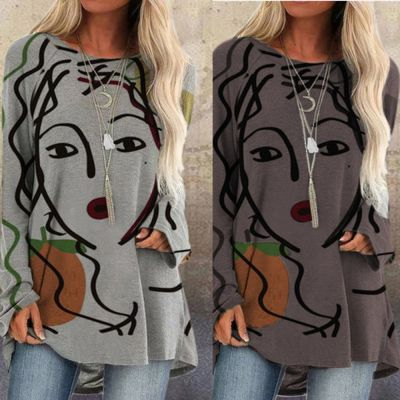 Women T-Shirt Print Tops Ovesize Long Abstract Face Casual Loose Autumn Tshirt o Neck Long Sleeve Streetwear Pullover Tee