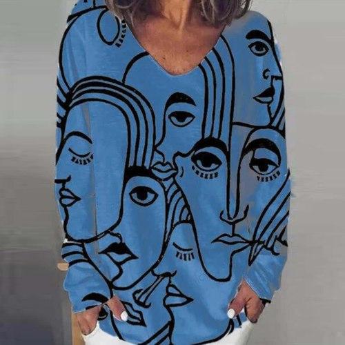 Abstract Print Sweatshirts Women Alternativetrend O-neckLong Sleeves loose plus size women clothing streetwear Hoodies