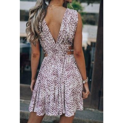 Sexy Backless High Waist Summer Dress 2021 Snakeskin Print Deep V-neck Fashion Waist Short Dress Women Fashion Party Dresses
