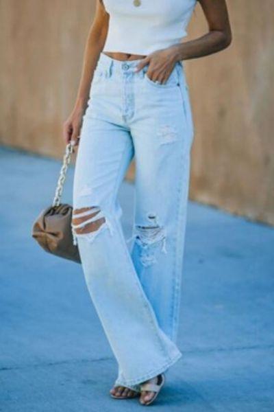Women's Summer Fashion Mid-rise Ripped Denim Straight-leg Casual Trousers Oversize Jeans Harajuku Streetwear Casual Denim Pants