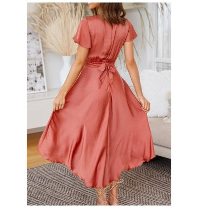 2021 Summer Sexy Hollow Out Temperament Women's Short-Sleeved V-Neck Irregular Dress Ladies Solid Color High Waist Maxi Dress