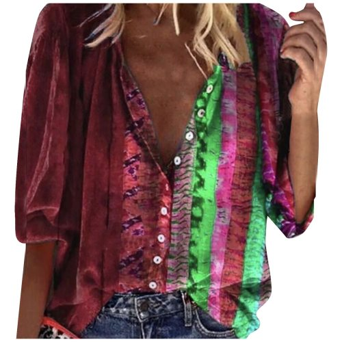 2021 Fashion Women's Blouse Loose Tie-dye Print V-neck Long Sleeve Buttons Shirt Blouse Tops Vetement Femme