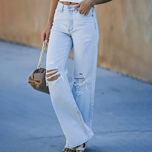 Women's Summer Fashion Mid-rise Ripped Denim Straight-leg Casual Trousers Oversize Jeans Harajuku Streetwear Casual Denim Pants