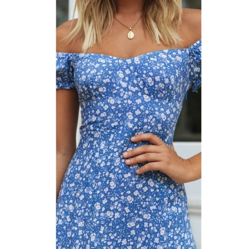 Sexy Floral Print Women Dress Fashion Off-Shoulder Short Sleeve Maxi Party Dresses Summer Bodycon Beach Long Dress Vestidos