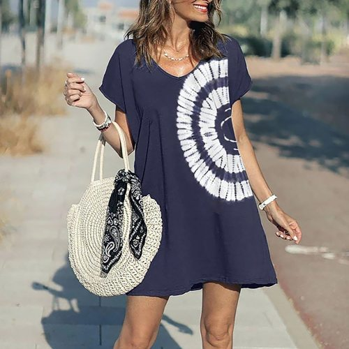 Elegant Office Lady Summer Dress Women's Cool Tie-dye Pullover Casual Short Sleeve Loose Woman Dress Straight Dresses Robes