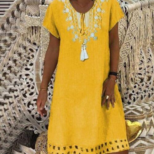 Large size Women's Dresses Lace Print Short Sleeve V-neck Dresses Boho Clothes Sundress Women Summer Loose Dress Plus Size