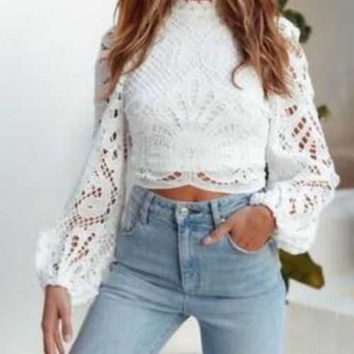 Elegant Women's Long Sleeve Lace Blouses Tops White Casual Crochet Hollow Out Turtleneck Stylish Cropped Shirts Female Pullovers