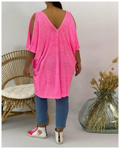 Women Tops Urban Casual Summer Long Large Size Pullover Short Sleeve V-neck Solid Color Hollow Strapless Loose T-shirt