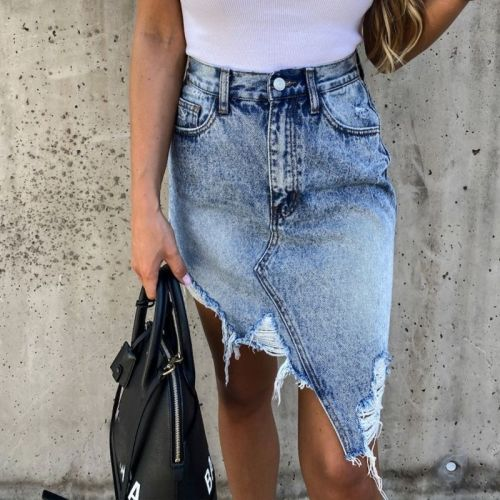 Hot sale summer woman denim skirt trendy irregular Ripped jeans skirt sexy slim Pack hips mini skirt S-XL