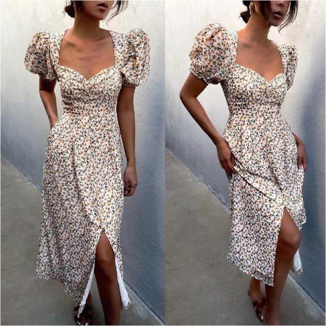 Puff Short Sleeve Women Summer Midi Dress Vintage V Neck White Floral Print French Style Sundress Sexy Slit Party Dresses 2021
