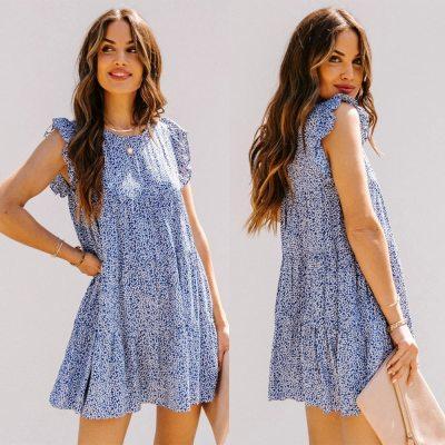 Casual Loose Summer Print Mini Dress Women Sleeveless O-Neck Woman Dresses 2021 Fashion Ruffles Beach Dress Robe Femme