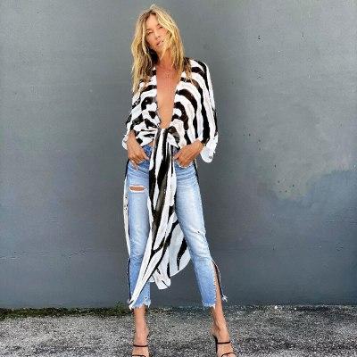 2021 Zebra Pattern White Chiffon Tunic Plus Size Sexy Beach Wear Kimono Summer Clothing For Women Tops and Blouses Shirts A792