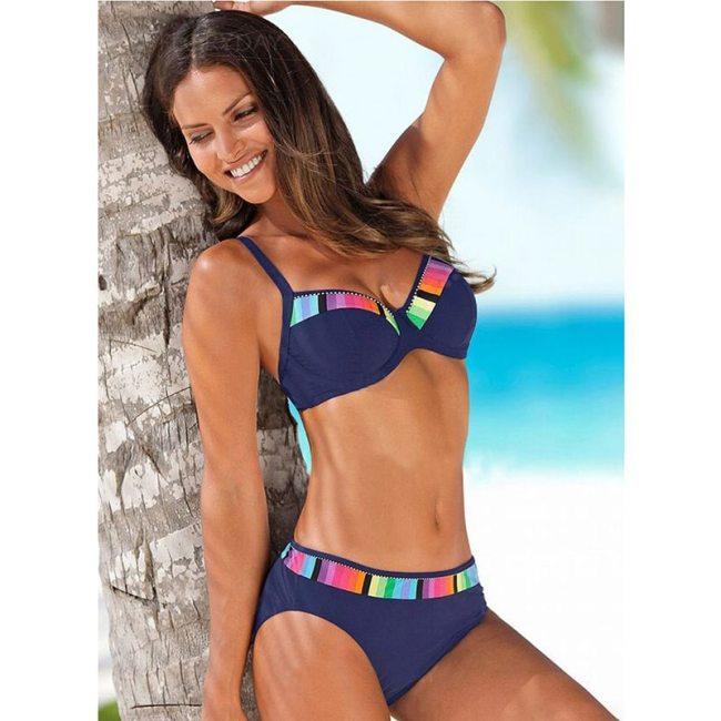 Sexy 2021 Black Bikini Set Swimwear Women Print Swimsuit Push Up Polka Dots Plus Size Bathing Suit Beachwear Biquini 3XL