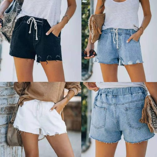 Washed and Worn Old 2021 Summer Street Fashion Short Jeans Women Casual Straight-leg Pants Elastic Lace-up Women's Denim Shorts