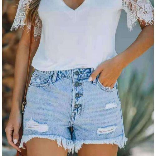 Ripped Denim Shorts Summer Women Tassel High Waist Jeans Shorts Sexy Fashion Curled Slim Shorts Streetwear Retro Shorts ouc1007