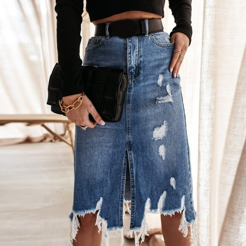 Ripped Irregular Tassel Women's Midi Skirt Front Split High Waist Denim Female Skirts 2021 Summer Fashion Elegant Lady Bottoms