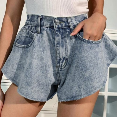 Women's Jeans Funny Summer Casual Vintage Sexy Fashion Women Casual High Waist Leg Solid Jeans Button Shorts Loose Pants