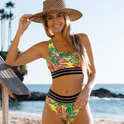 2021 New Tropical Print Bikinis Set One Shoulder Swimsuit Women Sexy Beach Swimwear High Waist Bikini Push Up Bathing Suit Women