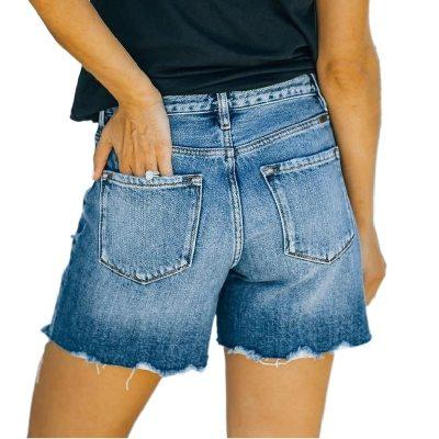 Women Summer Denim Shorts High Waist Straight Jeans Short Pants