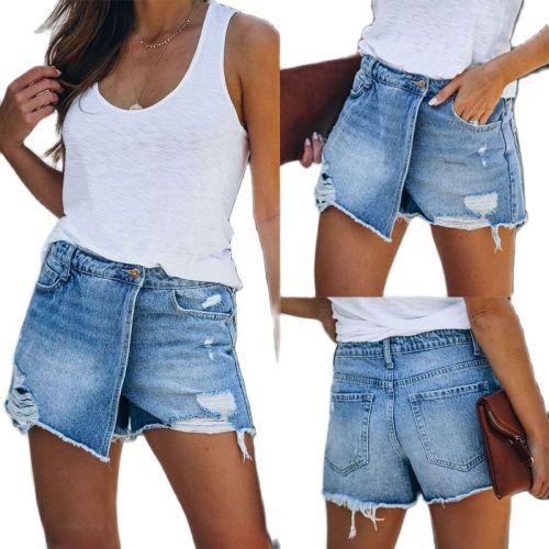 2021 New Summer Women Casual Light Blue Hole Jeans Denim Shorts Feminino