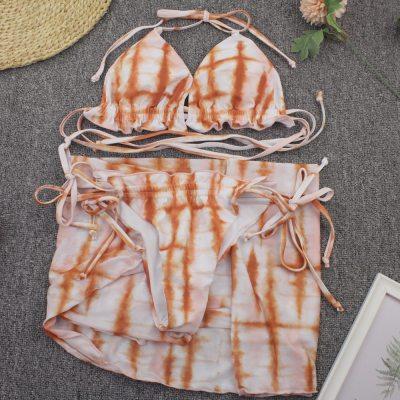 Sexy 3 Piece Swimsuit Women Tie Dye Push Up Padded Biquini Brazilian Summer Bathing Suit Thong Bikini 2021 Swimwear Women Skirt