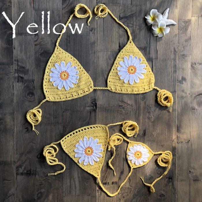 New Arrival Handmade Crochet Flower Micro Bikini G Thong String Beach Micro Swimwear Sexy Lingerie Sets 2019