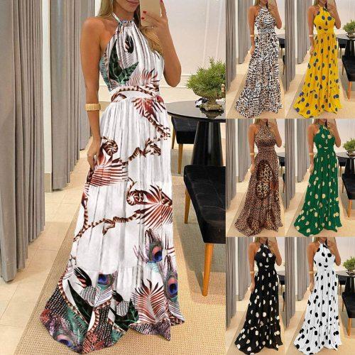 2021 Summer New Women Elegant Vintage Boho Long Maxi Dress Sexy Backless Party Beach Dress Floral Sundress