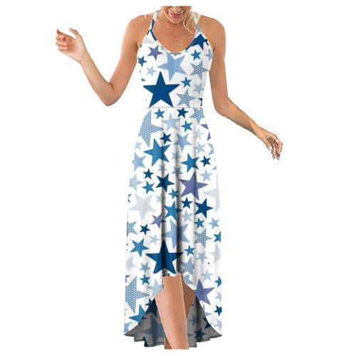Women's Fashion Casual V-Neck Sleeveless Strap Open Back Sexy Print Dress