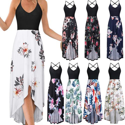 Dresses For Women 2021 Sundresses Women Fashion V-neck Sleeveless Strap Open Back Sexy Print Dress Summer Dress Robe Femme