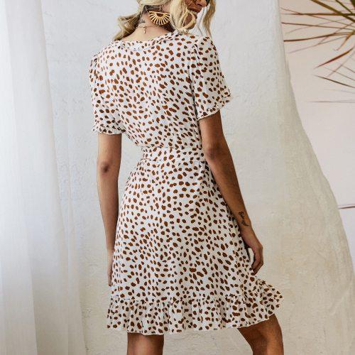 New  Women'S V-Neck Ruffle Print Dress Summer 2021 New Women Dresses For Women
