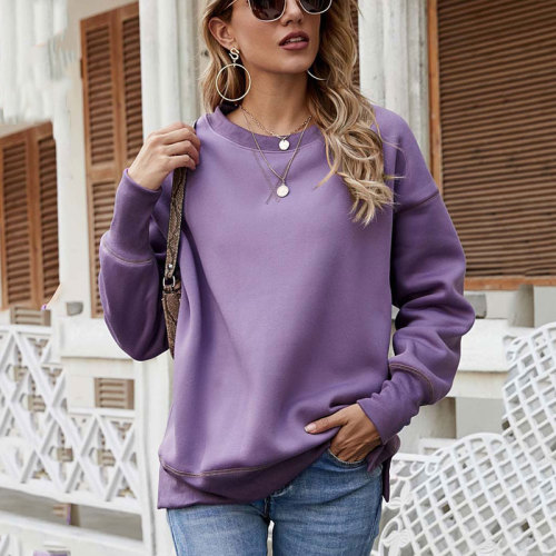 2021 Autumn Crewneck Sweatshirt Women Winter Warm Fleece Sweatshirt Female Long Sleeve Thick Loose Sweat-shirt Ladies