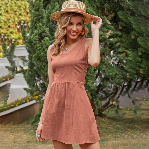 Sexy Sleeveless Dresses For Women 2021 Summer New Casual Loose Solid Color Backless+Pocket Bohemian Beach Holiday Dress