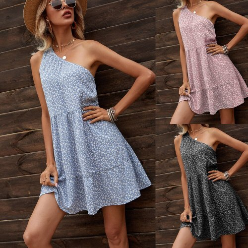 2021 Summer New Women'S Sleeveless One Shoulder Casual Floral Dress