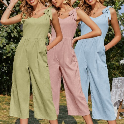 2021 Summer New Women'S Wear Cotton And Linen Bowtie Jumpsuit Linen Casual Pants Women'S Wear