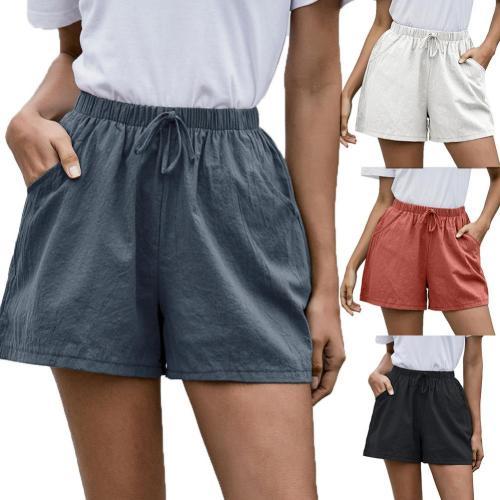 Casual Women Solid Color High Waist Drawstring Pockets Wide Leg Shorts Minipants