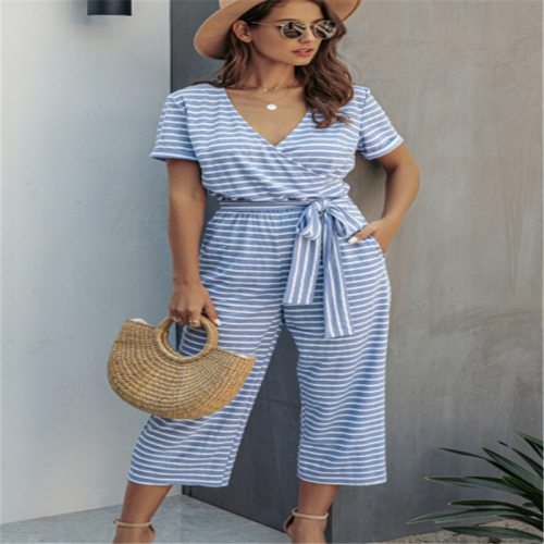 2021 New Fashion Women Short Sleeve Jumpsuit Sexy Ladies V-neck Striped Rompers Pants Casual Trousers