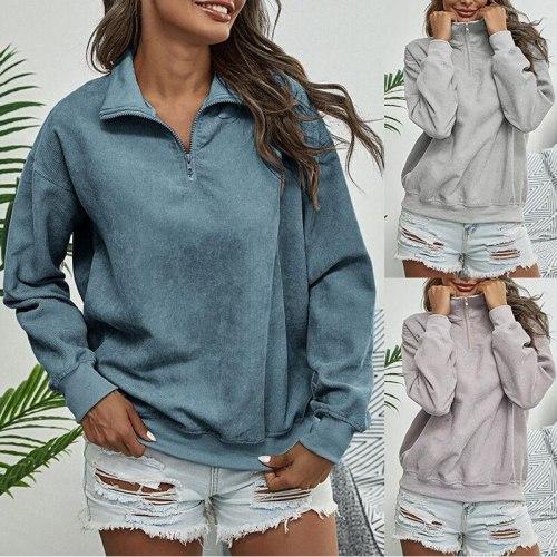 2021 Autumn Corduroy Sweatshirt Women Lapel Zipper Sweatshirt Ladies Long Sleeve Loose Casual Sweatshirt For Women