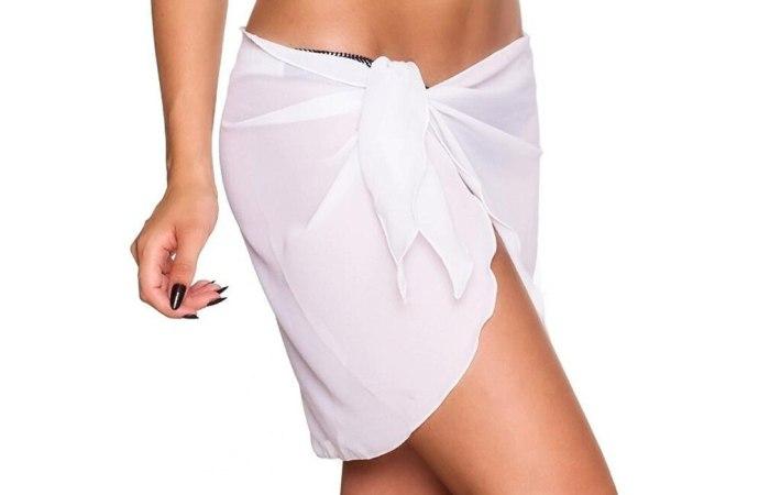Women Beach Bikini Cover Up Solid Color Pareo Chiffon Wrap Skirt Sarong Scarf Beachwear Bathing Suit Beachwear Swimsuits