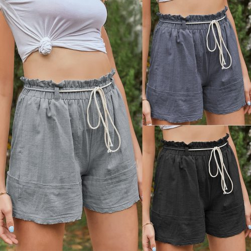 2021 Summer New Women'S Wear Solid Color Casual Cotton And Hemp A-Line Shorts For Women
