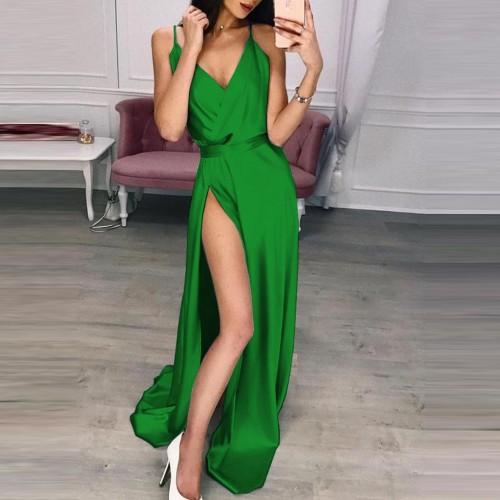 Women Spaghetti Strap Maxi Dress Lady Off Shoulder Hem Split Sexy V-Neck Luxury Sleeveless Long Party Dress