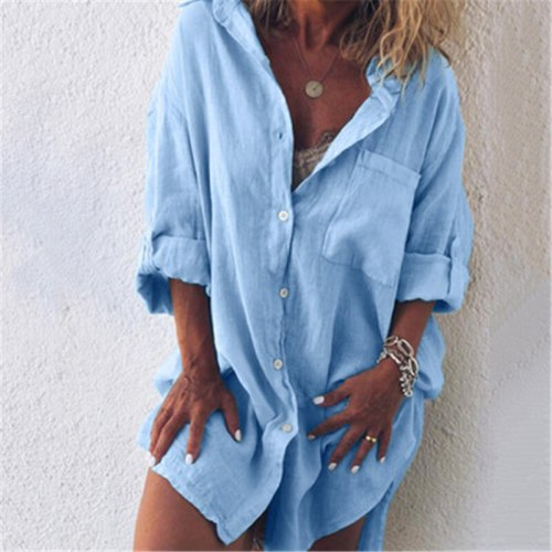 Plus Size Women Blouse Solid Color Loose Autumn Fashion Rollable Long Sleeve Harajuku Vintage Casual Female Streetwear Tops