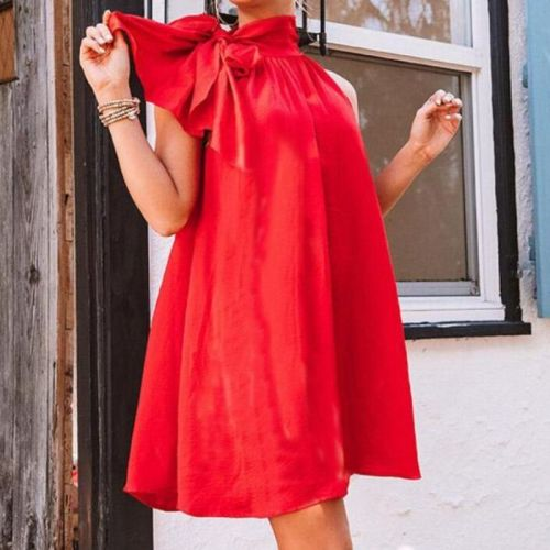 Solid Color Bow Halter Mini Dress Summer 2021 Elegant Casual Party Beach Style Dress Women Red Dresses