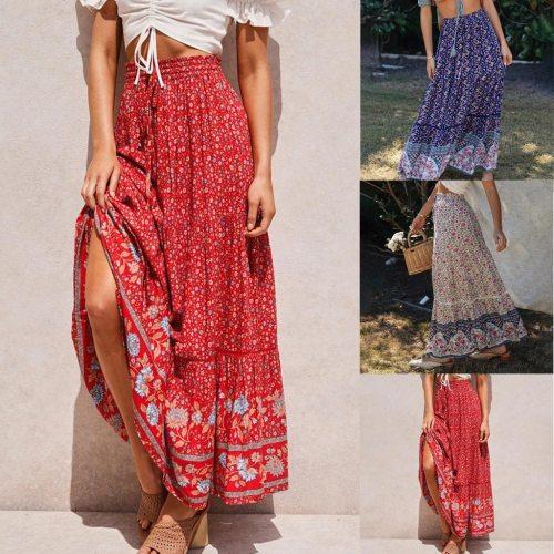 Skirts Womens Womens Fashion Causal Hollowing Hight Waist Print Folk-Custom Pleated Skirt faldas mujer moda 2020 женские юбки